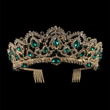 KMVEXO europeo gota verde rojo cristal Tiaras Vintage oro Rhinestone concurso coronas con peine barroco boda accesorios para el cabello