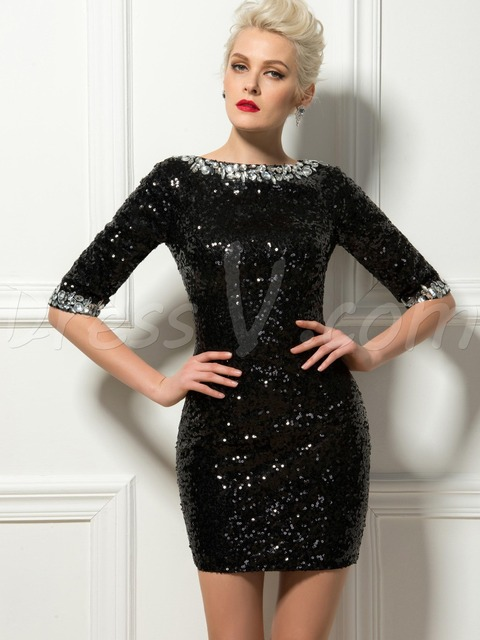 ae06a3e2ab7 Shiny Black Glitter Cocktail Dresses 2017 Beaded Neck Crystals Sheath  Bodycon Sequined Half Sleeves Nightclubs Party Dresses