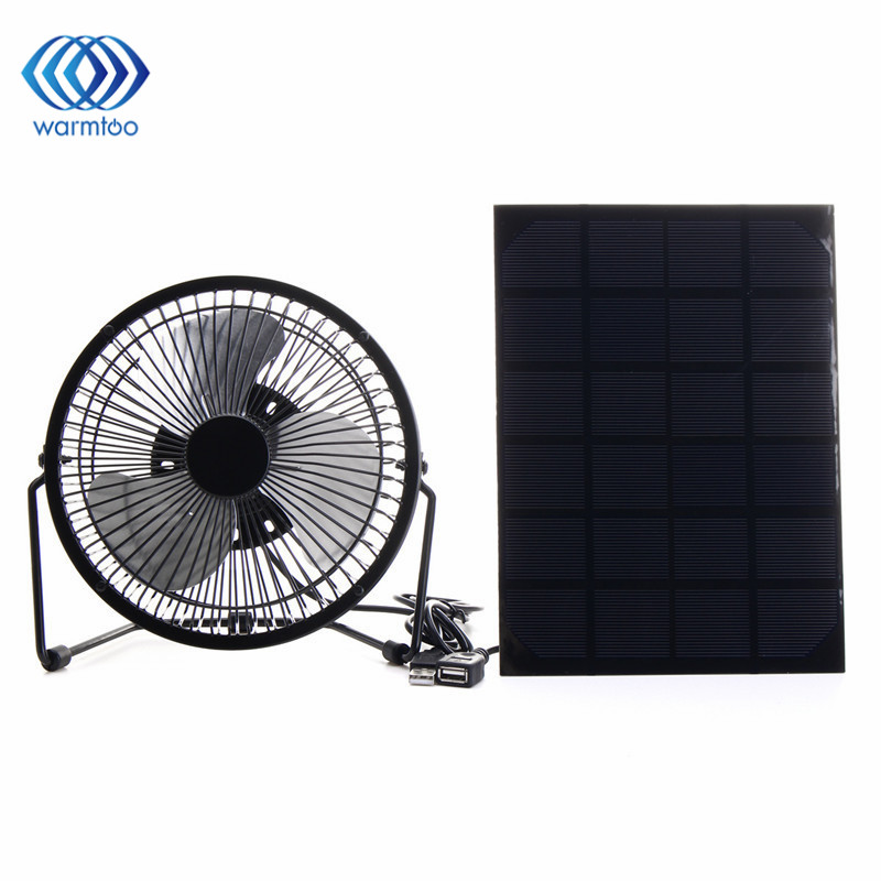 USB Solar Panel Powered 6 inch Iron Fan 5W Panel Outdoor Home Cooling Ventilation For Traveling Fishing  Office