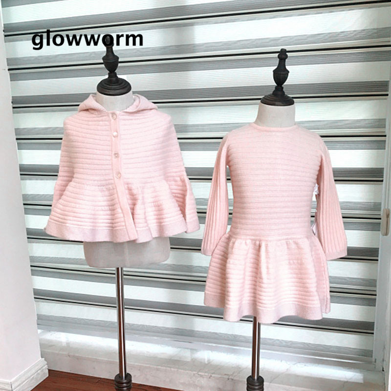 Glowwormkids 2018 Runway Knit Dress Set Baby Girls Long Sleeve Hooded Cloak Girls Clothing Striped Knit Light Pink Autumn hs099 bell sleeve rib knit dress