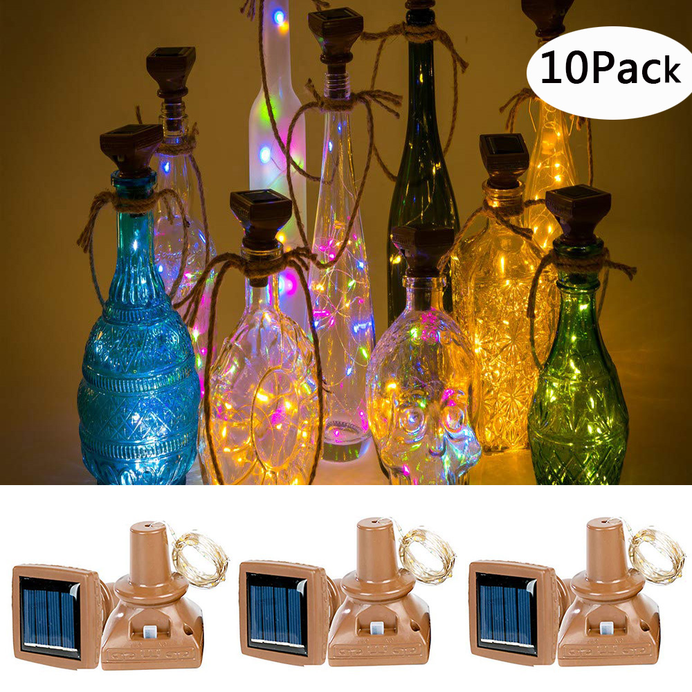 10Pcs/lot 10/15/20 LED Solar Cork Shaped Wine Bottle Lights Outdoor Copper wire Christmas Holiday String Light For Party Wedding