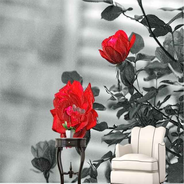 Beibehang Grande Carta Da Parati Personalizzata Rose Rosse Nero
