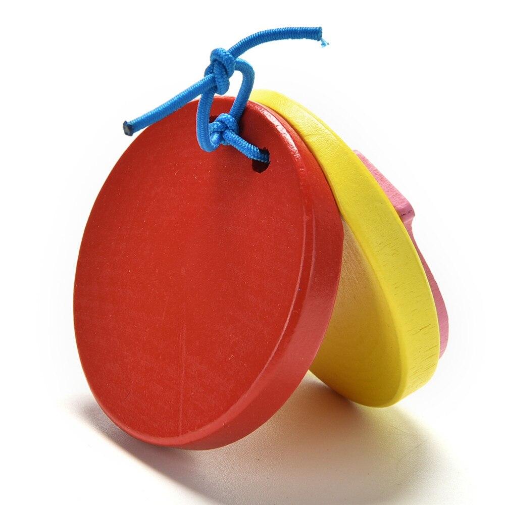 1 шт. мультфильм Кастаньеты прекрасные дети деревянные Кастанет колотушка ручка музыкальный инструмент игрушка