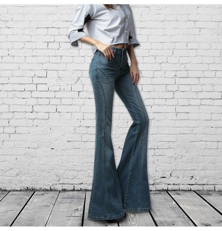 light Longue Bleu Pantalon Plus Jeans bas Jambe Noir Blue dark Large Blue Noir Taille Femelle Cloche Femmes Flare Vintage Automne Printemps La IRw8nq8S
