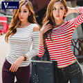 New 2016 T Shirt Hot Women Top Fashion High Street Modal Off Shoulder O Neck T-Shirt for Woman Striped Pattern Black Gray Red
