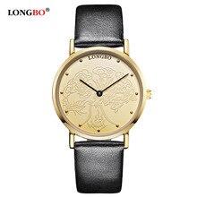 Reloj de manera de Las Mujeres Famosas Marca LONGBO Amantes de Cuarzo de Oro Caso Negro Correa de Cuero Genuino Impermeable Reloj 80026 reloj mujer