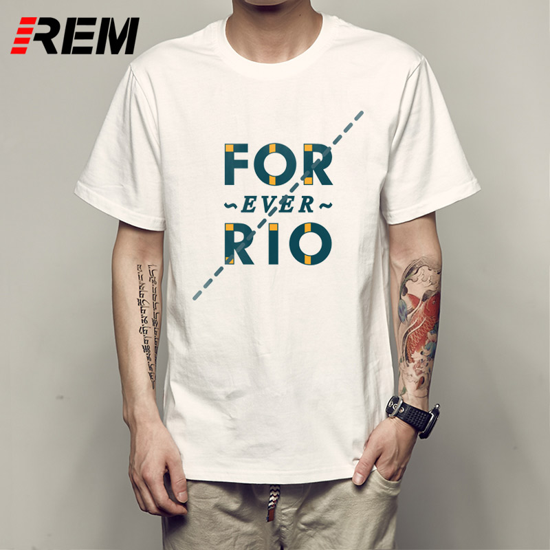 REM for ever rio T Shirts Men Creative Letter Casual T-Shirt Geek Round Collar Mens Fitness The Big Bang Theroy Tee Shi P53183