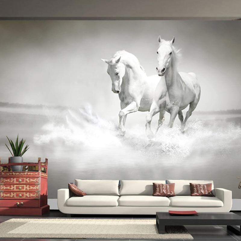 Custom Size Modern Art 3D Running White Horse Photo Mural Wallpaper For Bedroom Living Room Office Backdrop Non-woven Wall Paper