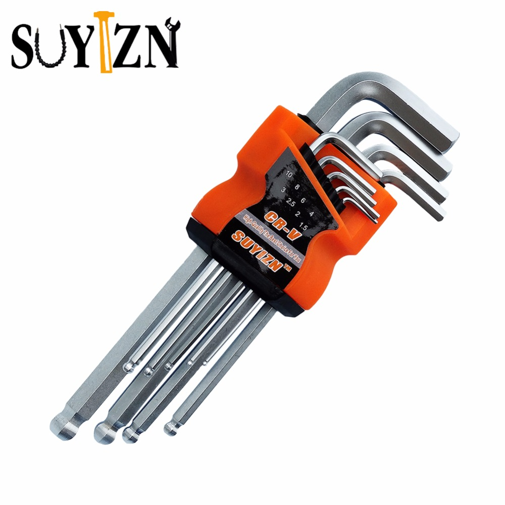 9 pcs l shape hex key repair tools powerful type allen wrench set high chrome vanadium steel. Black Bedroom Furniture Sets. Home Design Ideas