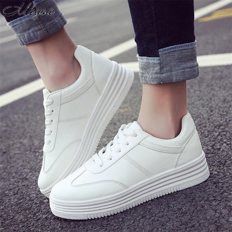 Mhysa 2019 New Spring Fashion White Shoes Women Flat Leather Shoes Female White Casual Shoes Comfortable Platform sneakers T193Mhysa 2019 New Spring Fashion White Shoes Women Flat Leather Shoes Female White Casual Shoes Comfortable Platform sneakers T193