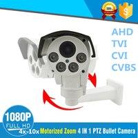 2MP AHD Bala PTZ Câmera 1080 p Full HD impermeável Ao Ar Livre Câmera de Visão Noturna IR 4X 10X de Vídeo COM ZOOM óptico câmera de vigilância|ptz camera|ptz camera 1080p|bullet ptz -