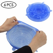 6PCs Reusable Various Sizes Silicone Lids Food Wrap Bowl Pot Cover Cup Lid Stretch and Fresh Food Seel Wraps Sealer Kitchen Home silicone food wrap bowl pot cover stretch lid kitchen vacuum sealer
