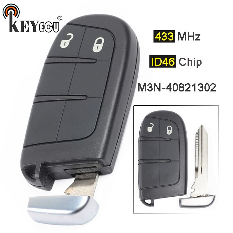 KEYECU 433MHz ID46 Chip M3N-408213 <font><b>Replacement</b></font> 2 Button Smart Remote <font><b>Key</b></font> <font><b>Fob</b></font> for Chrysler 300, for Jeep, for Dodge, for <font><b>Fiat</b></font> 500 image