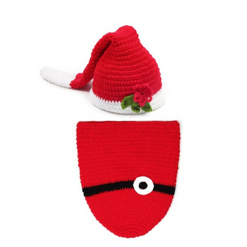 Christmas Baby Clothing Clothes Suit Photo Props For Children Red Floral Newborn Baby Photography Props Warm Knitted Beanies