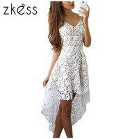 Zkess 2017 Short Front Long Back Summer Casual Dress Hollow Out Elegant White Lace Dress Women Short Party Dress Vestido LC61443
