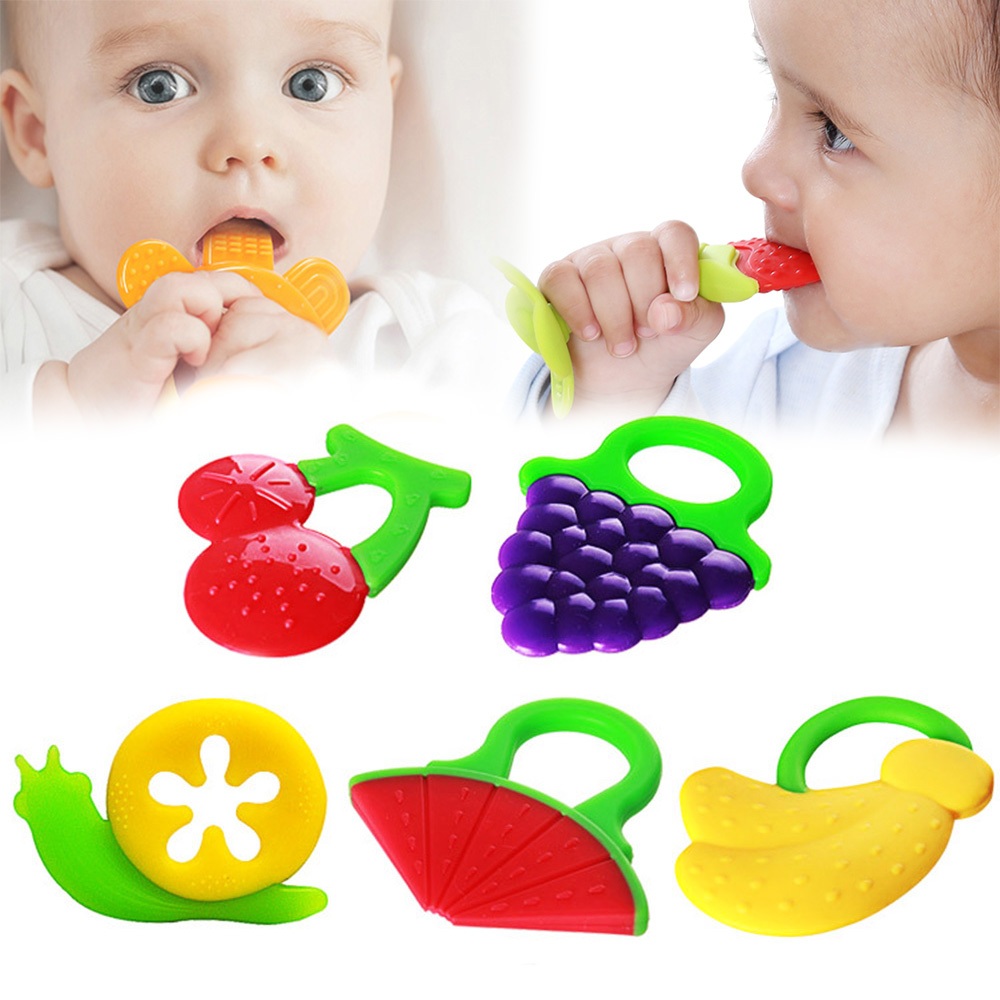 New 1 Pcs Silicone Baby Kids Child Silicone Fruit Shape Teether Gum Chewable Toy 5 Shape With Rings Toy free shipping