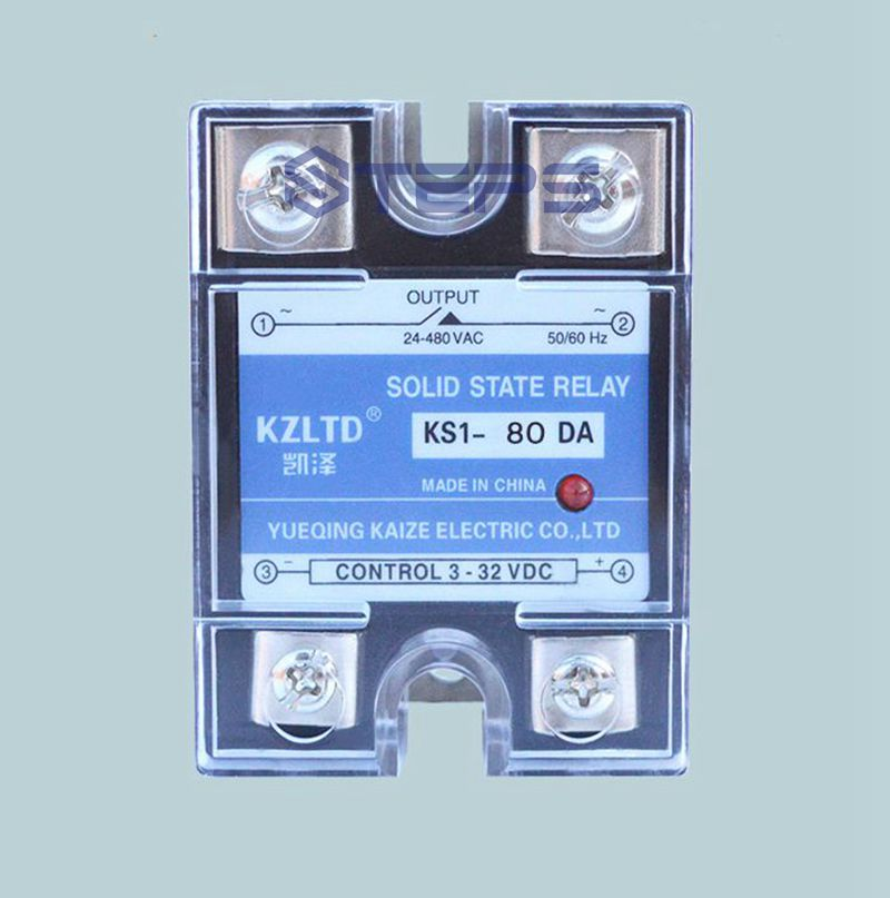 Single-phase solid state relay DC to AC 60A solid state relay switch with temperature controller ssr 80aa ac output solid state relays 90 280v ac to 24 480v ac single phase solid relay module rele 12v 80a ks1 80aa