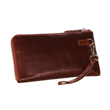 Men Long Wallet Cowhide Zipper Closure Genuine Leather Man Clutch Bag Male Coin Holders PR098040(China)