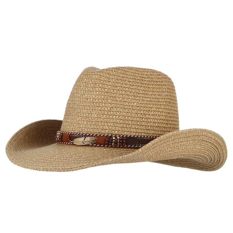 Meilleur achat ) }}Vintage Western Cowboy Hat For Men Women Summer Straw Hats Alloy Feather Beads