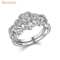 Newshe Heart Shape Wedding Ring Sets Engagement Band Classic Fashion Jewelry For Women Gift Size 5 10