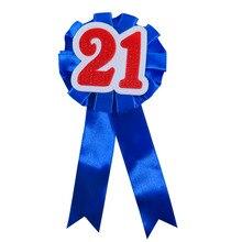 5pcs of 21 adult ceremony ribbon badge girl women man birthday celeration button