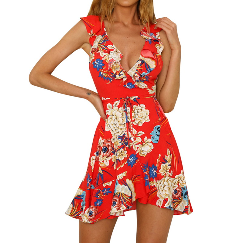 da7e2e17d5b8 LASPERAL 2018 Flroal Print Sleeveless Short Summer Dress Chic Cute Hippie V  Neck Boho Beach Sexy Dress Women Lace Up Mini Dress-in Dresses from Women's  ...