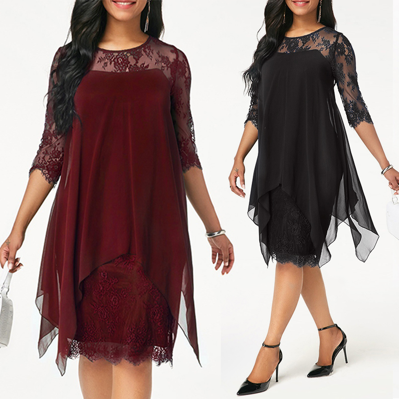 Plus Size Chiffon Dresses Women New Fashion Chiffon Overlay Three Quarter Sleeve Stitching Irregular Hem Lace Dress