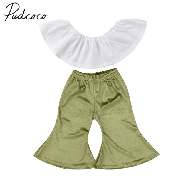 9bf0247dc3960 2018 Brand New Toddler Infant Kid Baby Girl Lace Off-shoulder Crop Tops  Wide Leg Flare Bell Bottom Velvet Pants Outfits 0-5T