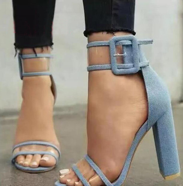 833292aaeb08 New Fashion Women Open Toe Blue Jean Patchwork PVC Transparent Thick Heel  Sandals Ankle Strap Chunky High Heel Buckle Sandals