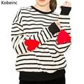 Lovely Patch Love Heart Long Sleeve Sweatshirt Classic Striped Women Sweatshirts Casual Round Neck Moletom 2017 Auttumn Sudadera
