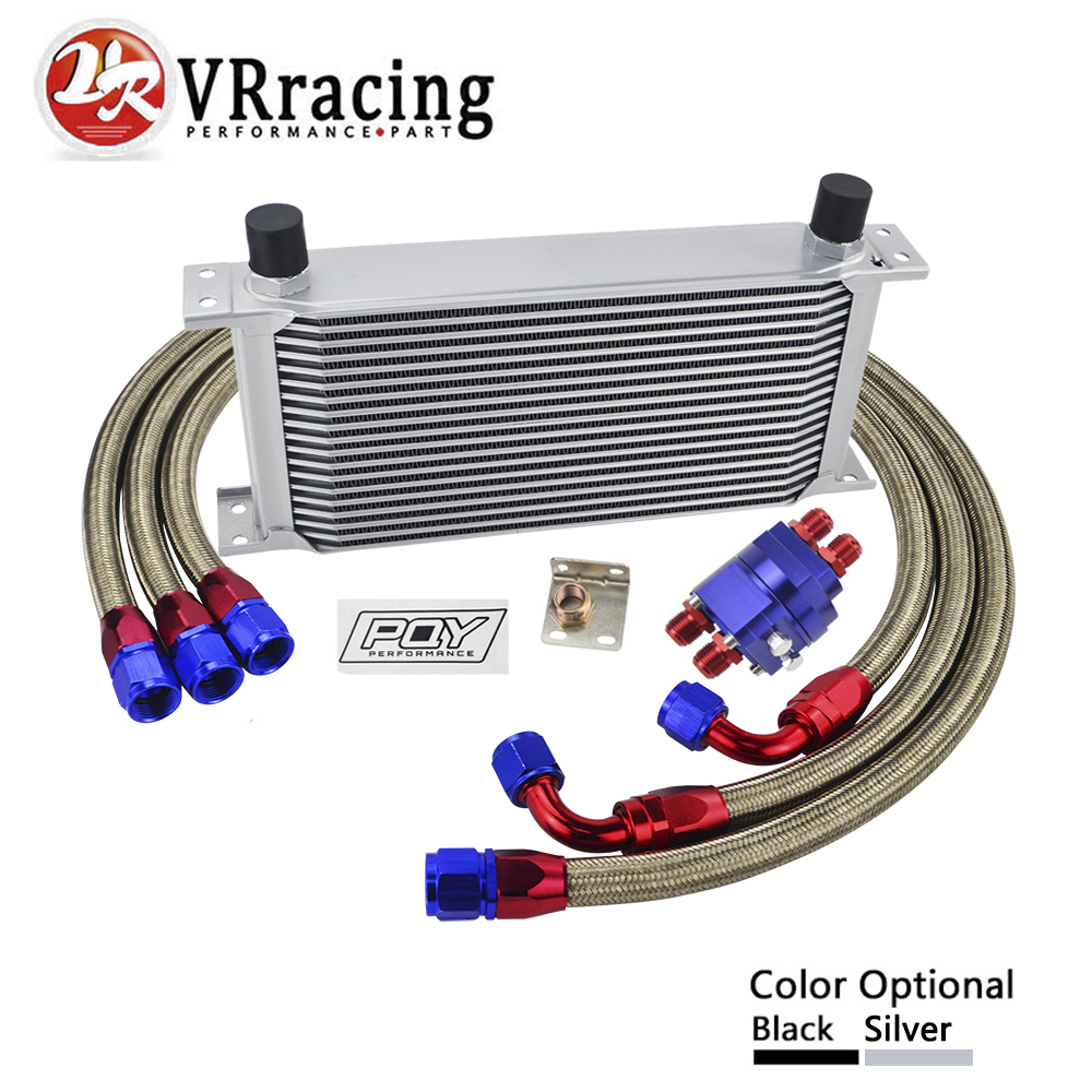 VR - UNIVERSAL AN10 OIL COOLER KIT 19ROWS OIL COOLER + OIL FILTER ADAPTER + NYLON STAINLESS BRAIDED HOSE WITH PQY STICKER+BOX цена