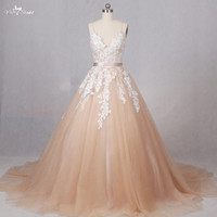 RSW1287 Real Photos China Bridal Gowns Champagne Tulle Factory Direct Wedding Dresses