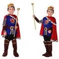 2017 маленькие мальчики принц костюм комплект одежды 7 шт. для детей royal crown плащ дети короля хэллоуин косплей костюмы для детей FH155