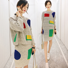 [XITAO] 2016 new autumn tide long sleeve knitting dress casual round neck sweater fashion Korea style two piece sets BBHE001