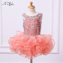 ADLN/платья из органзы с оборками и цветочным узором для девочек; Пышное Платье; Бальные платья с бусинами и кристаллами; платье-кекс; мини-длина