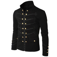 Men Vintage Military Jacket Gothic Military Parade Jacket Embroidered Buttons Solid Color Top Retro Uniform Cardigan Outerwear(China)