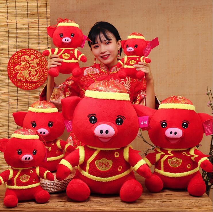 Rouge Porc film Caractère oreiller jouets pour enfant