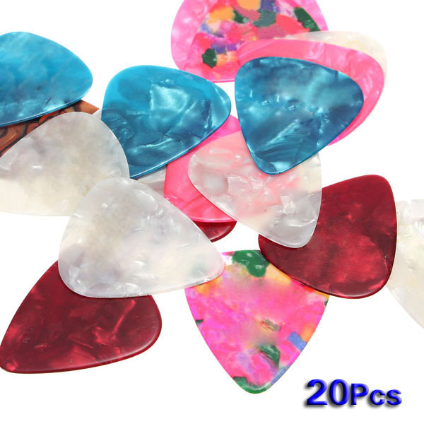 20pcs Electric Acoustic Bass Celluloid Guitar Picks Plectrums Marbled Assorted