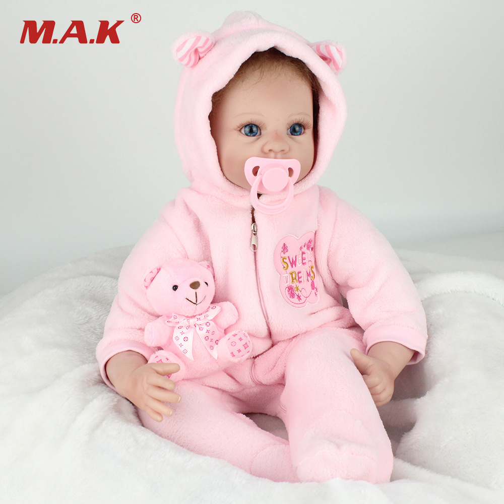 55cm Silicone Reborn Dolls Model Toys Lovely Girl Baby Model Newborn Doll Model With the Floral Dress Clothing Kids Gifts the girl with the wrong name