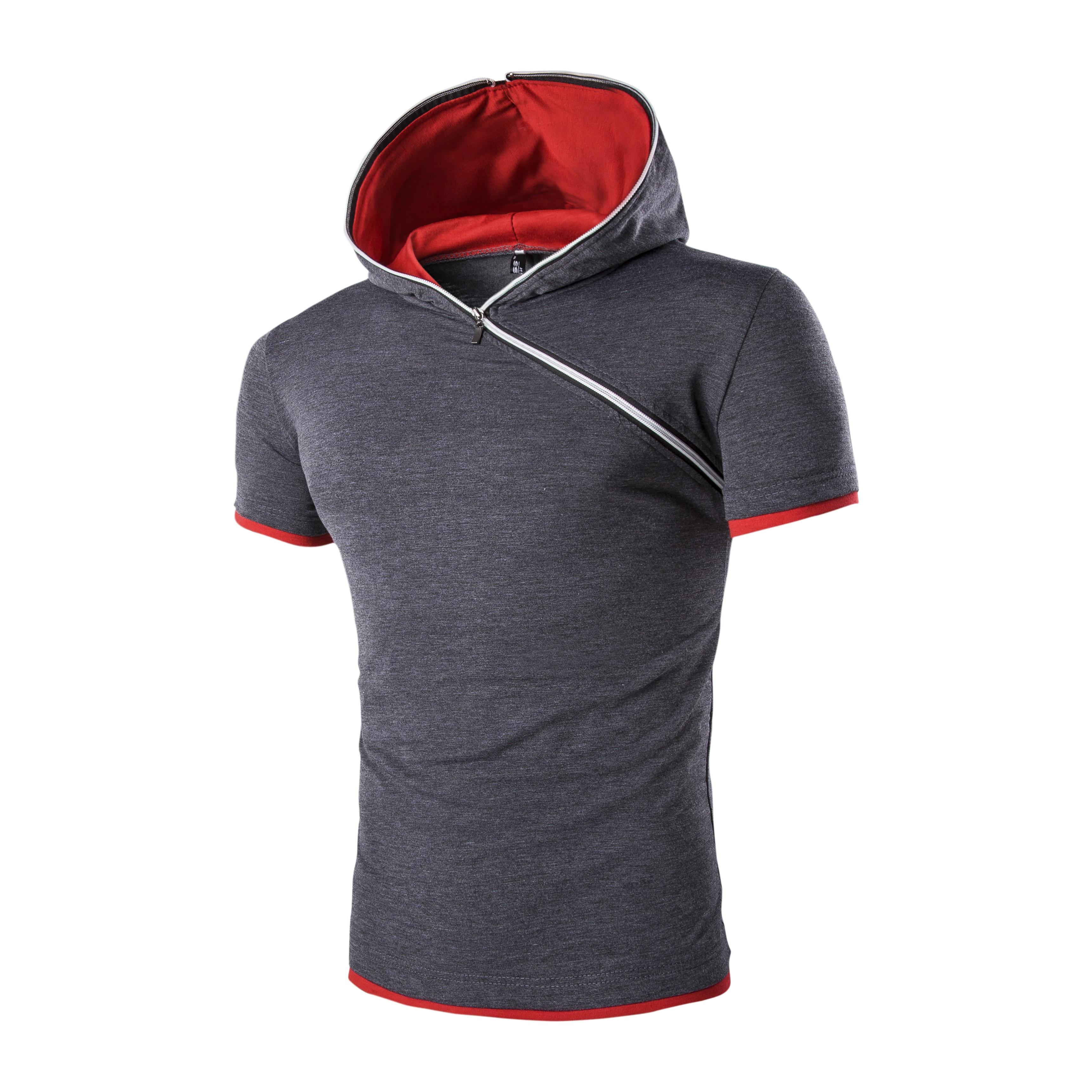 Shirt design of man - 2017 New Summer T Shirt Men Inclined Zipper Design Hooded Man T Shirt Fitness Tshirt