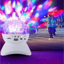 Беспроводной Bluetooth динамик со светодиодной подсветкой, сабвуфер для дискотеки с хрустальным шариком, динамик с поддержкой FM, для танцев и вечеринок, звуковая коробка для телефонов