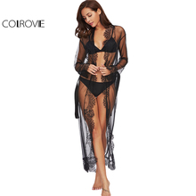 COLROVIE Lace Long Sleeve Ankle-length Kimono Robe