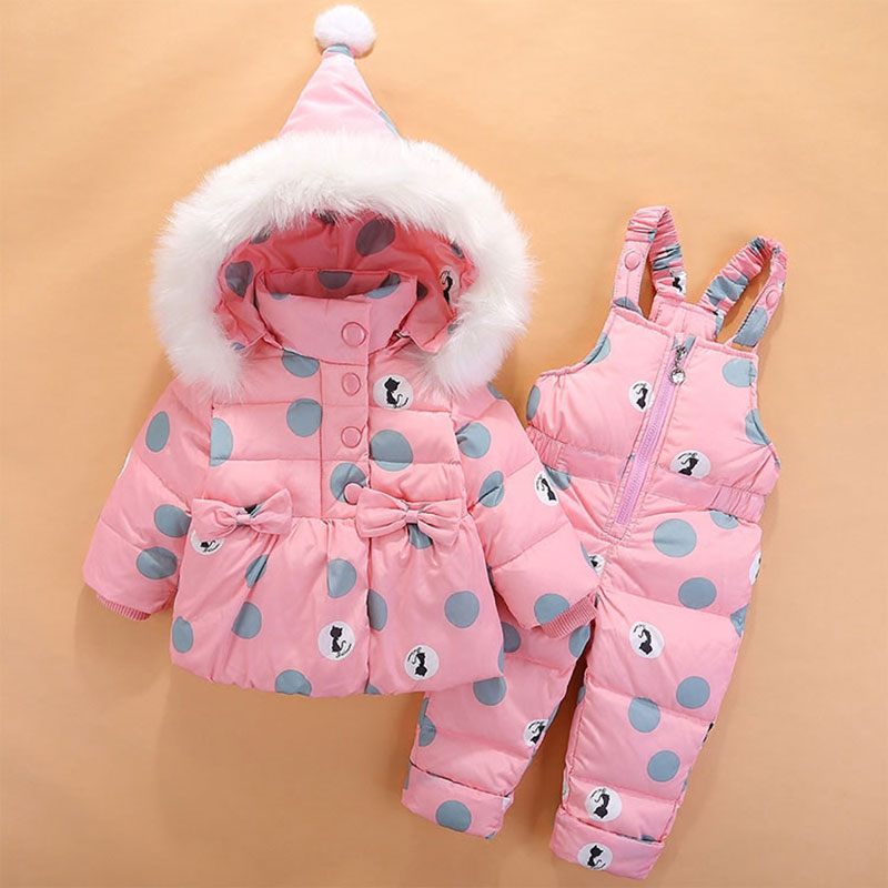 Hot Dot Hooded Jacket Winter Overalls For Newborns Baby Girl Children's Clothing Set Warm Outerwear Clothes Suit Coat+Pant 0-4T new baby set 2015 winter baby girl clothes cartoon coat thick warm coat pants warm winter outerwear jacket clothing sets