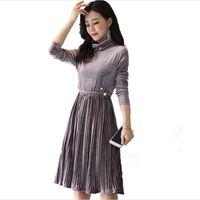 2019 Autumn Korean Style Women Dress Velvet Elegant A Line Full Sleeve Ladies Dresses Work Office Femme Vestidos