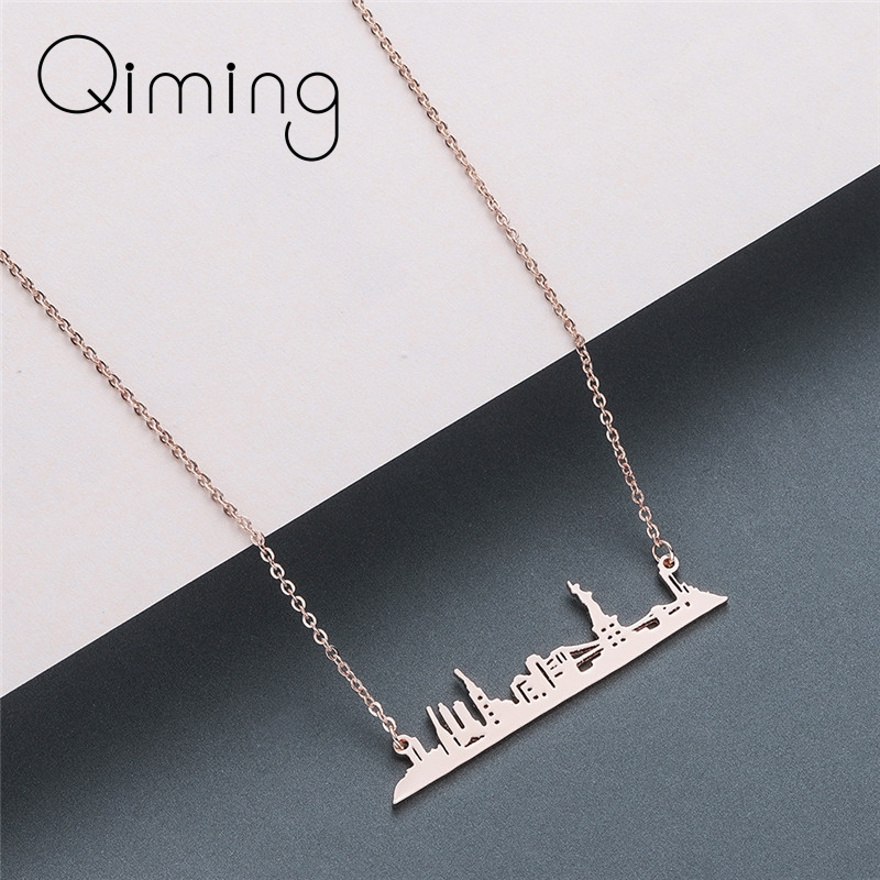 Gold New York City Necklace Fashion Jewelry Women USA Simple Pendant Necklace American Best Gift Dropshipping image
