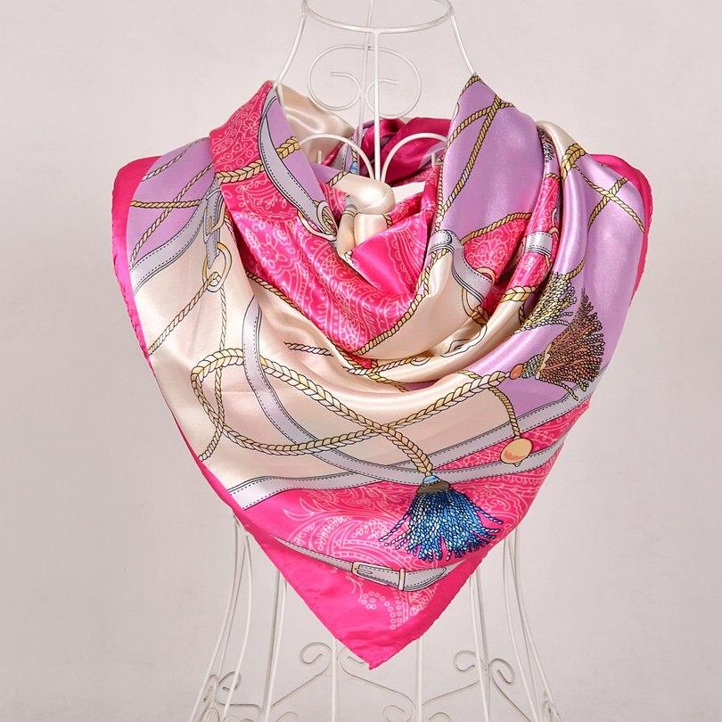 Дизайн женский Шелковый большой квадратный шелковый шарф из полиэстера, 90*90 см горячая Распродажа атласный шарф с принтом для весны, лета, осени, зимы - Цвет: pink 563