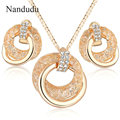 Nandudu Clear Crystals filled Necklace Mesh Circle Style Earrings Jewelry Set  Gold Plated Jewelry Gift N960