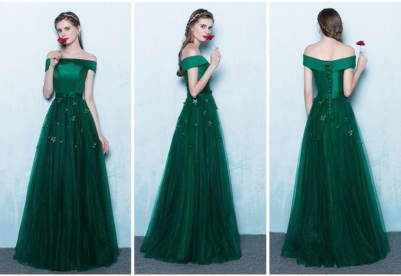 9c549c2299 Boat Neck Sin Mangas Verde Esmeralda Vestidos de Baile Elegante de ...