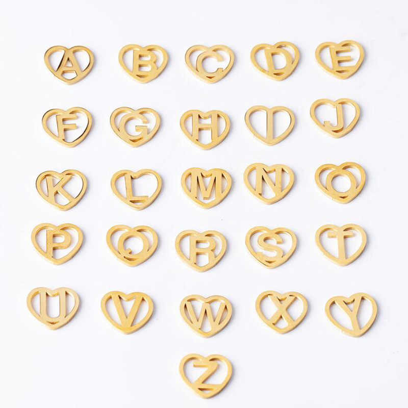Fnixtar 11.2*12mm Stainless Steel Gold Color Hollow Heart Love Initials A-Z Alphabet Charms Letter Mini Polish Charms 26pcs/lot