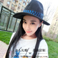Summer English double M black and blue straw winding ribbon female beach hat topi hollow out Sir Wide-brim hats